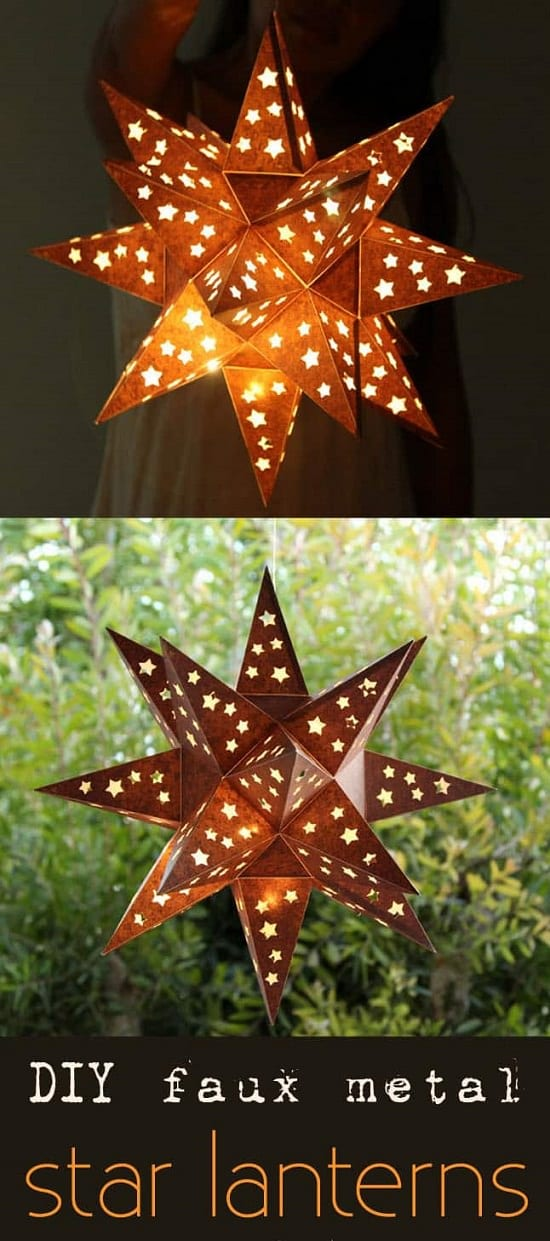 Faux Metal Star Lanterns