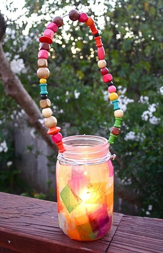 Mason Jar Lantern with Beaded Handle