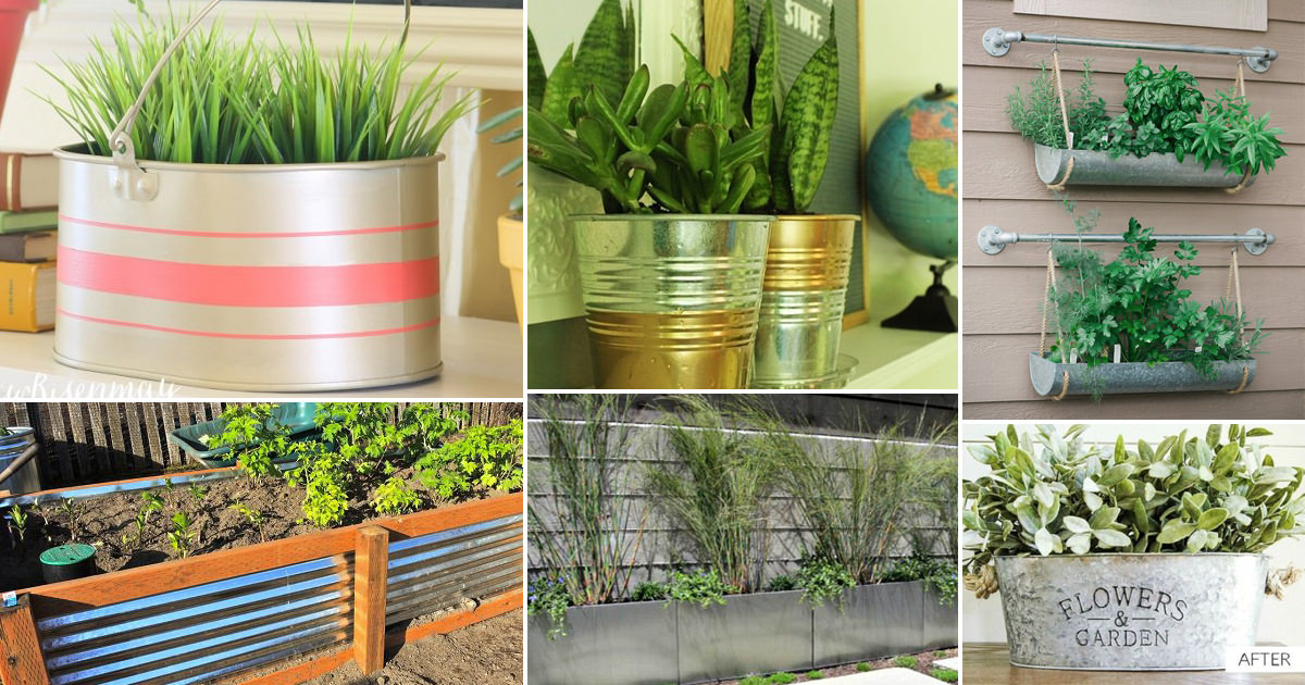 Picture of: 12 Diy Galvanized Metal Planters With Tutorials Balcony Garden Web