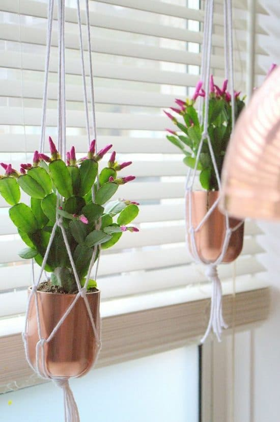Copper Macrame Hanging Planters