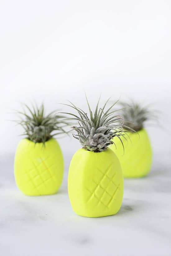 DIY Neon Pineapple Planter
