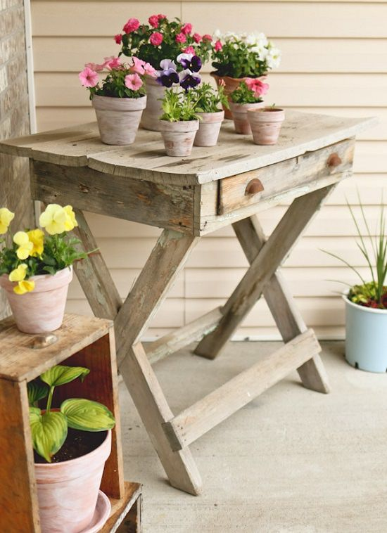 White Wash Terra Cotta porch planter