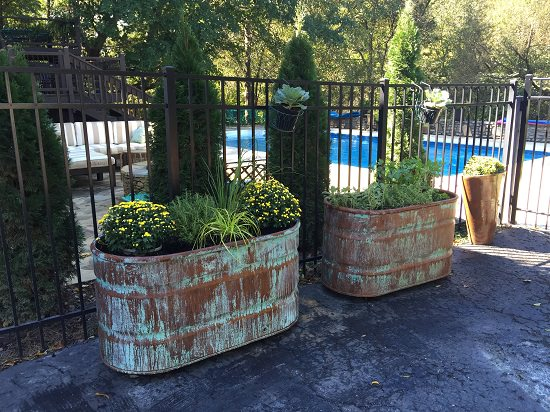 Copper Patina and Rust Planters