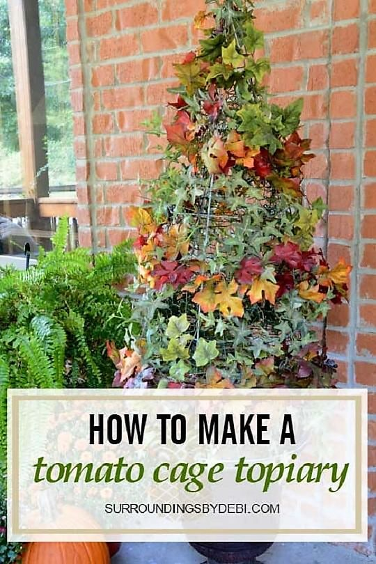 DIY Tomato Cage Topiary for Year-Round Display