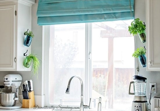 kitchen counter hanging mason jar garden, perfect for using indoor vertical space