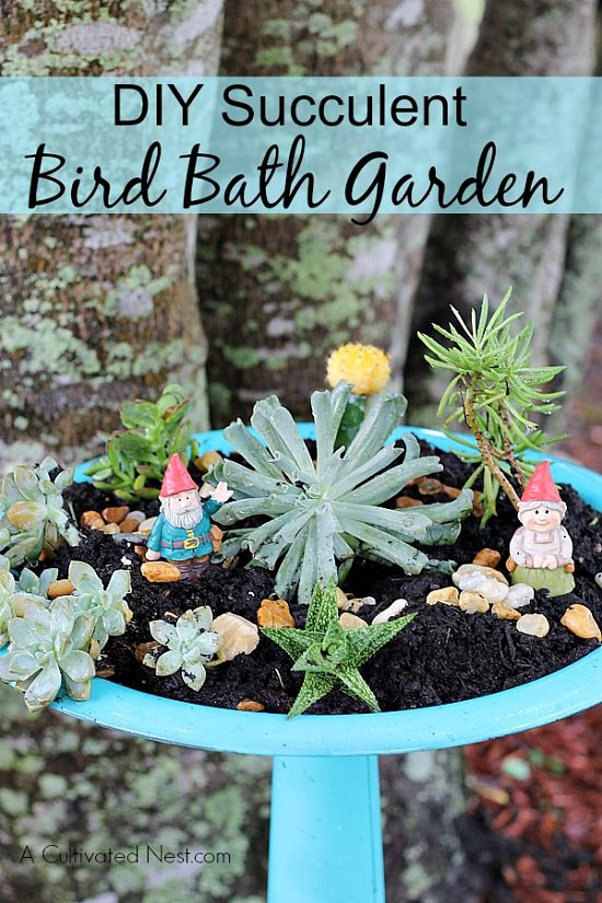 diy bird bath garden