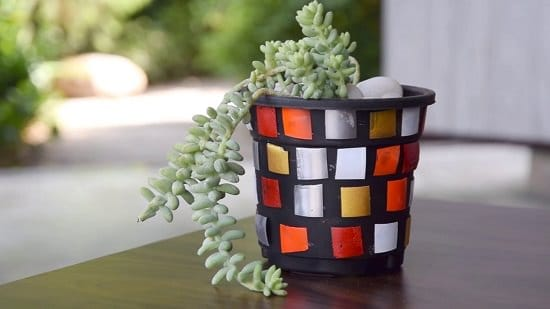 DIY Mosaic Planter Out of a Plastic Bottle